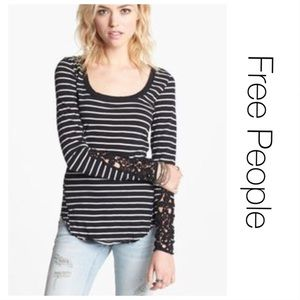 Free People Black Striped Lace Cuff Thermal XS